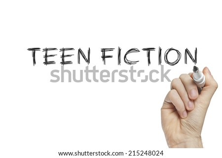 Hand writing teen fiction on a white board