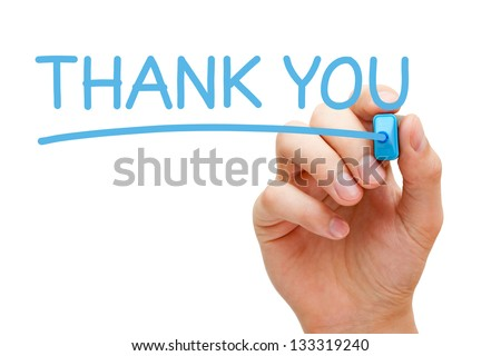 Hand writing Thank You with blue marker on transparent wipe board. - stock photo