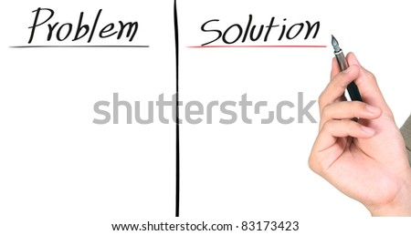 hand writing the solution isolated