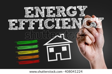 Hand writing the text: Energy Efficiency - stock photo