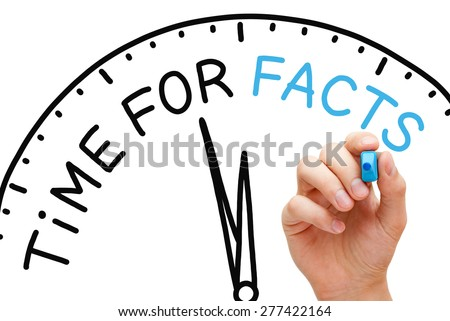 Hand writing Time for Facts concept with blue marker on transparent wipe board. - stock photo