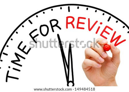 Hand writing Time for Review concept with red marker on transparent wipe board. - stock photo