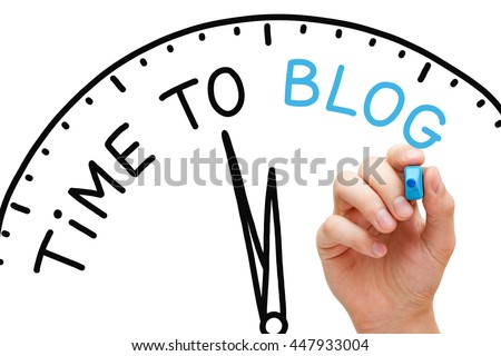 Hand writing Time to Blog concept with blue marker on transparent wipe board.
