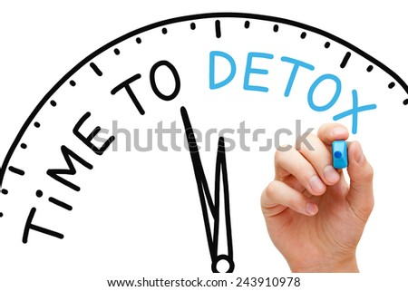 Hand writing Time to Detox concept with blue marker on transparent wipe board. - stock photo