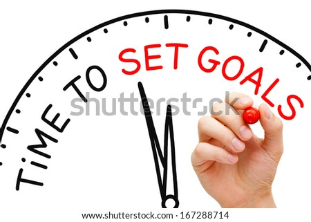 Hand writing Time to Set Goals concept with red marker on transparent wipe board. - stock photo