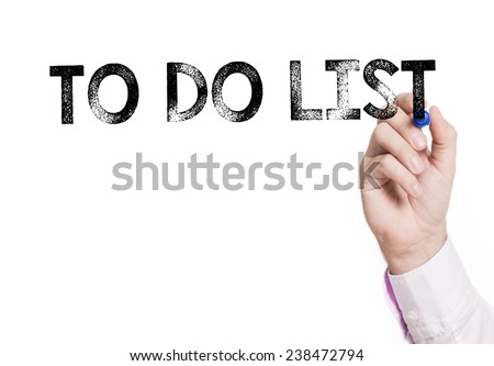 Hand writing to do list. Hand writing to do list with a black mark on a transparent board - stock photo