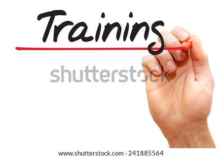 Hand writing Training with red marker, business concept - stock photo