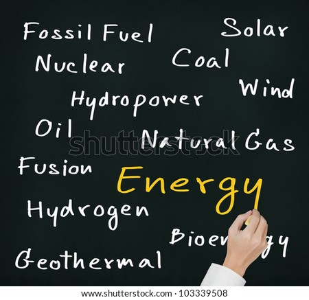 hand writing various energy sources on chalkboard