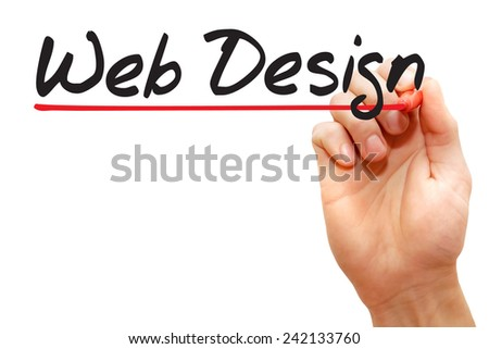 Hand writing Web Design with red marker, business concept - stock photo