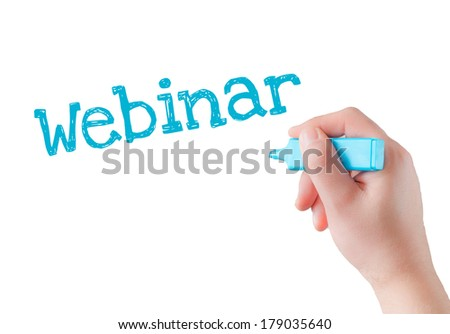 Hand writing Webinar with blue marker on transparent wipe board. - stock photo