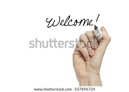 Hand writing welcome on a white board - new job concept - stock photo