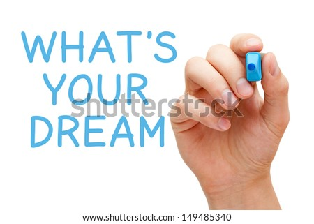 Hand writing What's Your Dream with blue marker on transparent wipe board. - stock photo