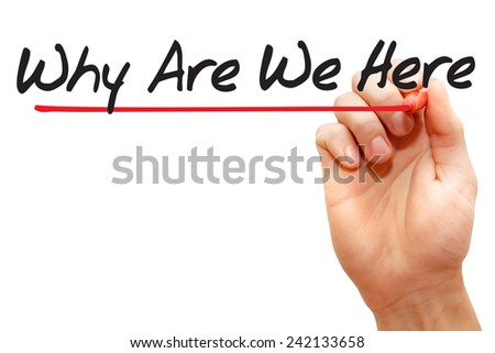 Hand writing Why Are We Here with red marker, business  - stock photo