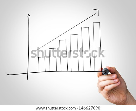 Hand writing with a black mark on a transparent board - Chart - stock photo
