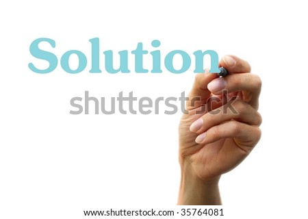 hand writing with a marker the word solution