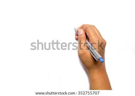 hand writing with a pen on white background perfectly to add text or picture