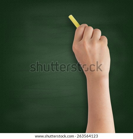 Hand writing with chalk on blackboard