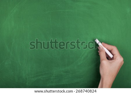 Hand Writing with Chalk on Empty Green Chalkboard  - stock photo