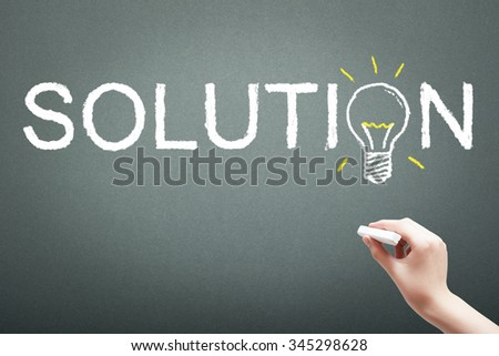 Hand writing with chalk solution concept on blackboard