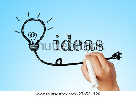hand writing word of IDEAS with lightbulb background