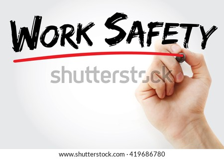 Hand writing Work Safety with marker, health concept background - stock photo
