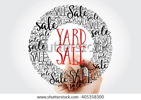 Hand writing YARD SALE circle word cloud, business concept background - stock photo