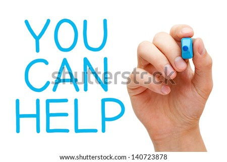 Hand  writing You Can Help with blue marker on transparent wipe board.  - stock photo