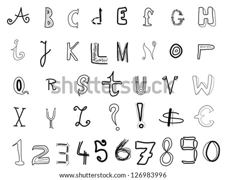 Hand Written Alphabet Various Doodle Letters Stock Illustration