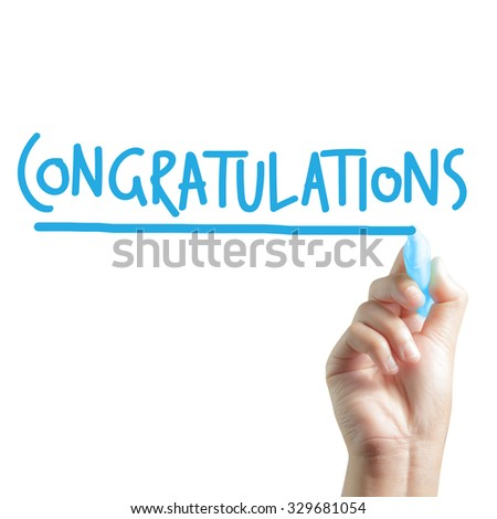 Hand written congratulations - stock photo