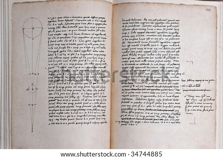 Hand written double-page spread of tattered book - stock photo