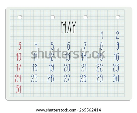 Hand written monthly calendar of year 2015 over white school paper sheet. - stock photo