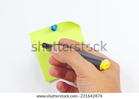 Hand written notes a yellow marker on a green sticker on a white board - stock photo