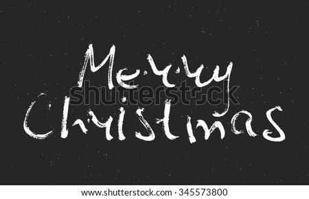 Hand written scribble inscription Merry Christmas. Design element for banner, card, invitation, label, t-shirt, postcard, poster. Raster copy of vector file. - stock photo