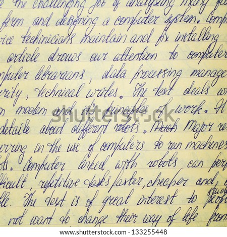 Hand written text about computers on old paper