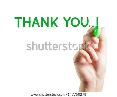 Hand written thank you - stock photo