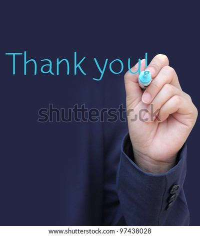 Hand written Thank you - stock photo