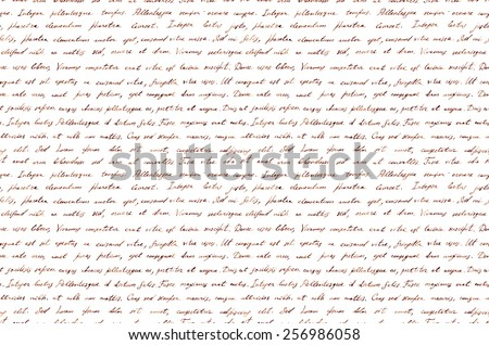 Hand written vintage ink letter - latin text Lorem ipsum. Repeating pattern (handwritten background) - stock photo
