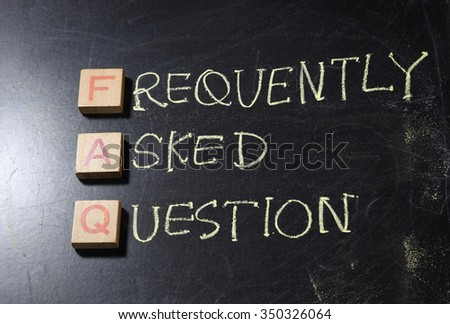 Hand writting Frequently Asked Questions (FAQ) acronym, business concept on blackboard - stock photo