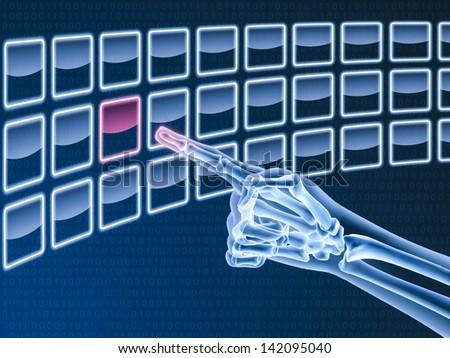 Hand X-ray touching on virtual digital screen - stock photo