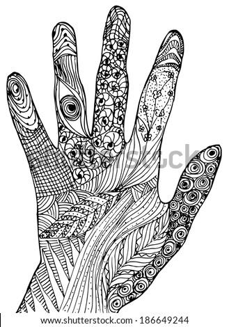 Hand zen tangle - stoc...