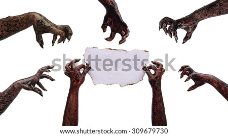 Hand zombie holding of paper fire burning (letter for invitation to a party). Subject halloween, halloween team. - stock photo