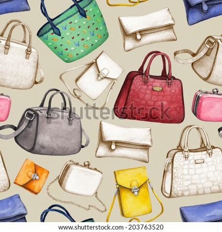 Handbag illustrations. Seamless pattern - stock photo