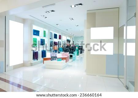 handbag store interior - stock photo