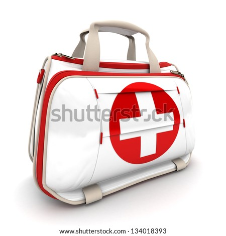 Handbag with a red cross, symbolizing first aid supplies