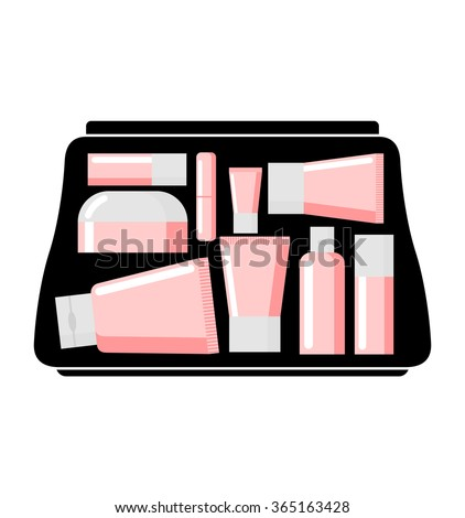 Handbag Womens body care products. Cream jars and lipstick.   - stock photo