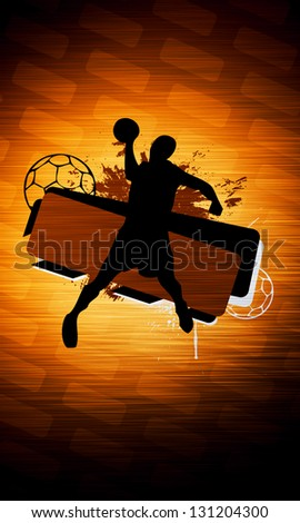 Handball shot sport poster or flyer background with space - stock photo
