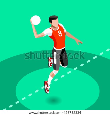 Handball 2016 Summer Games Icon Set. 3D Isometric Athlete. Sporting Championship International Handball Match Competition. Sport Infographic olympics Handball Illustration.