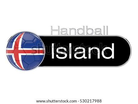 Handball with Iceland flag, German Version 3, 3D-Rendering