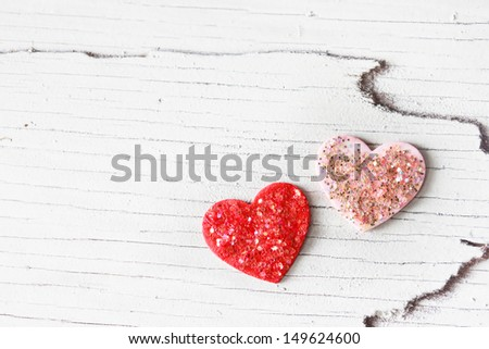 Handcraft pink and red hearts with glitter - stock photo