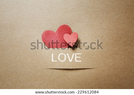 Handcrafted card expressing love - stock photo